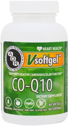 Co-Q10, 60 Softgels by Advanced Orthomolecular Research AOR, 補充劑,輔酶q10,coq10 HK 香港