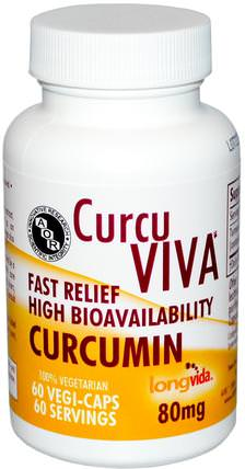 CurcuViva, Curcumin, 80 mg, 60 Veggie Caps by Advanced Orthomolecular Research AOR, 補充劑,抗氧化劑,薑黃素 HK 香港