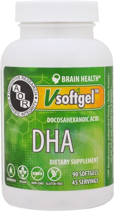 DHA, 90 Softgels by Advanced Orthomolecular Research AOR, 補充劑,efa omega 3 6 9(epa dha),dha,健康,注意力缺陷障礙,添加,adhd,腦 HK 香港