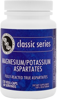 Magnesium Potassium Aspartates, 120 Veggie Caps by Advanced Orthomolecular Research AOR, 補品,礦物質,鎂 HK 香港