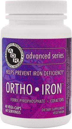 Ortho-Iron, 60 Veggie Caps by Advanced Orthomolecular Research AOR, 補品,礦物質,鐵 HK 香港
