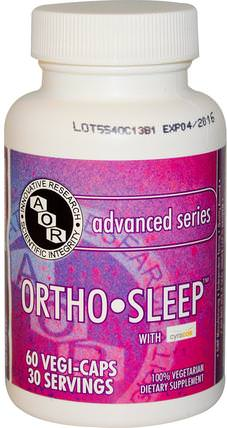 Ortho Sleep, 60 Vegi-Caps by Advanced Orthomolecular Research AOR, 補充劑,褪黑激素,褪黑激素3毫克 HK 香港