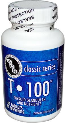 T 100, 60 Tablets by Advanced Orthomolecular Research AOR, 補充劑,牛產品 HK 香港