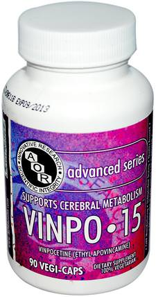 Vinpo15, 90 Veggie Caps by Advanced Orthomolecular Research AOR, 健康,注意力缺陷障礙,添加,adhd,vinpocetine HK 香港