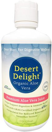 Desert Delight, 100% Pure Aloe Vera Juice, 1 qt (32 oz) by Aerobic Life, 補充劑,蘆薈,蘆薈液 HK 香港
