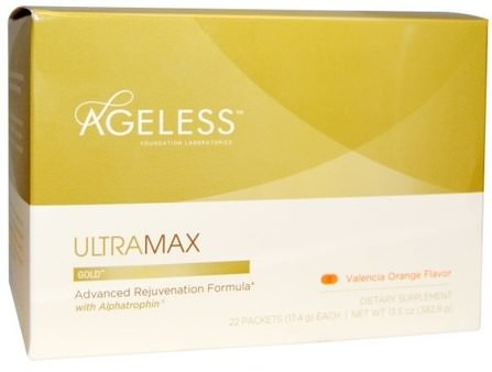 UltraMax Gold, Advanced Rejuvenation Formula with Alphatrophin, Valencia Orange Flavor, 22 Packets, 13.5 oz (17.4 g) Each by Ageless Foundation Laboratories, 補充劑,合成代謝補品,高效,抗衰老 HK 香港