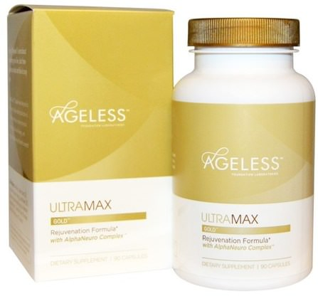 UltraMax Gold with AlphaNeuro Complex, 90 Capsules by Ageless Foundation Laboratories, 補充劑,合成代謝補品,高效,抗衰老 HK 香港