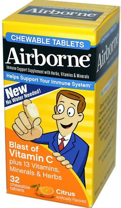 AirBorne, Blast of Vitamin C, Citrus, 32 ChewableTablets 健康,感冒和病毒,免疫系統