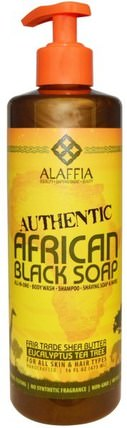 Authentic African Black Soap, Eucalyptus Tea Tree, 16 fl oz (475 ml) by Alaffia, 洗澡,美容,肥皂,黑色肥皂,頭髮,頭皮,洗髮水,護髮素 HK 香港