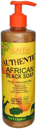 Authentic African Black Soap, Peppermint, 16 fl oz (475 ml) by Alaffia, 洗澡,美容,肥皂,身體護理,黑色肥皂 HK 香港