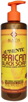 Authentic African Black Soap, Tangerine Citrus, 16 fl oz (475 ml) by Alaffia, 洗澡,美容,肥皂,身體護理,黑色肥皂 HK 香港