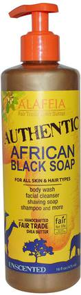 Authentic African Black Soap, Unscented, 16 fl oz (475 ml) by Alaffia, 洗澡,美容,肥皂,身體護理 HK 香港