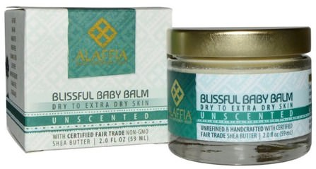 Blissful Baby Balm, Dry to Extra Dry Skin, Unscented, 2.0 fl oz (59 ml) by Alaffia, 乳木果油,身體護理 HK 香港