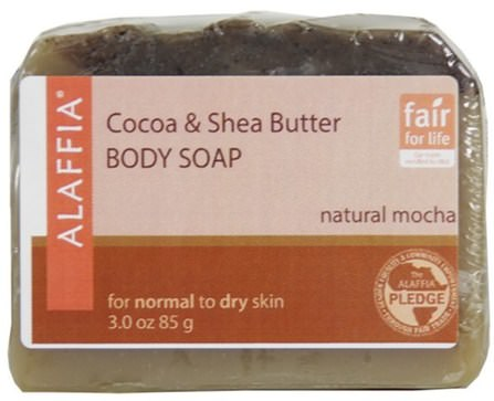 Cocoa & Shea Butter Body Soap, Natural Mocha, 3.0 oz (85 g) by Alaffia, 乳木果油,身體護理 HK 香港