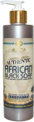 Extra Rich Authentic African Black Soap, Unscented, 8 fl oz (235 ml) by Alaffia, 洗澡,美容,肥皂,身體護理,黑色肥皂 HK 香港
