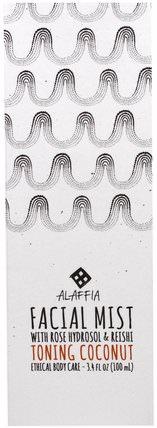 Facial Mist, Toning Coconut, 3.4 fl oz (100 ml) by Alaffia, 美容,面部護理,面部調色劑 HK 香港