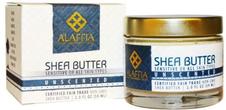 Shea Butter, Unscented, 2.0 fl oz (59 ml) by Alaffia, 乳木果油,身體護理 HK 香港