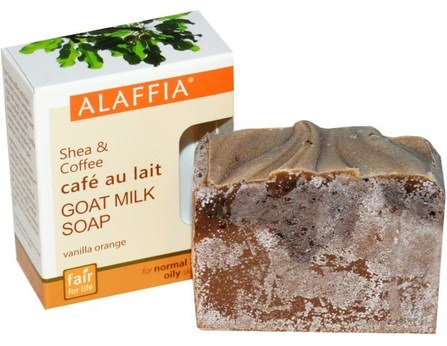 Shea & Coffee Goat Milk Soap, Vanilla Orange, 3.0 oz (85 g) by Alaffia, 乳木果油,身體護理 HK 香港