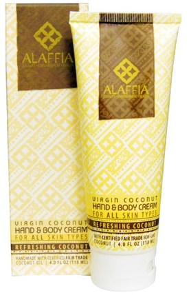 Virgin Coconut Hand & Body Cream, Refreshing Coconut, 4.0 oz (118 ml) by Alaffia, 美容,面部護理,身體護理,皮膚類型正常至乾性皮膚 HK 香港