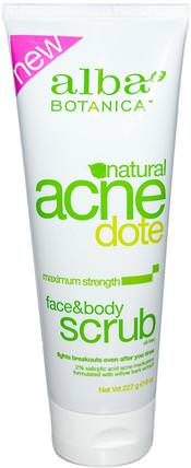 Acne Dote, Face & Body Scrub, Oil-Free, 8 oz (227 g) by Alba Botanica, 美容,痤瘡外用產品,面部護理,面部清潔劑 HK 香港