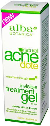 Acne Dote, Invisible Treatment Gel, Oil-Free, 0.5 oz (14 g) by Alba Botanica, 美容,粉刺外用產品,面部護理,面霜,乳液 HK 香港