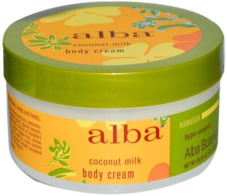 Alba Botanica, Body Cream, Coconut Milk, 6.5 oz (180 g) 沐浴,美容,潤膚露,alba botanica夏威夷線