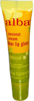 Clear Lip Gloss, Coconut Cream, 0.42 oz (12 g) by Alba Botanica, 沐浴,美容,口紅,光澤,襯墊,alba botanica夏威夷線 HK 香港