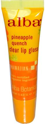 Clear Lip Gloss, Pineapple Quench, 0.42 oz (12 g) by Alba Botanica, 沐浴,美容,口紅,光澤,襯墊,alba botanica夏威夷線 HK 香港