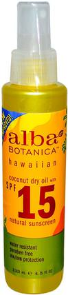 Coconut Dry Oil, Natural Sunscreen, SPF 15, 4.5 fl oz (133 ml) by Alba Botanica, 浴,美容,防曬霜,spf 05-25,alba botanica hawaiian line HK 香港