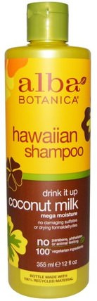 Drink it Up Coconut Milk Shampoo, 12 fl oz (355 ml) by Alba Botanica, 洗澡,美容,洗髮水,alba botanica夏威夷線 HK 香港