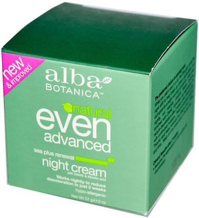 Natural Even Advanced, Renewal Night Cream, Sea Plus, 2 oz (57 g) by Alba Botanica, 健康,女性,α硫辛酸乳膏,乳霜,乳液 HK 香港