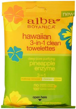 Hawaiian 3-in-1 Clean Towelettes, Pineapple Enzyme, 10 Wet Towelettes by Alba Botanica, 美容,面部護理,洗面奶,alba botanica夏威夷系列 HK 香港