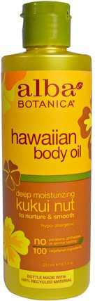 Hawaiian Body Oil, Kukui Nut, 8.5 fl oz (251 ml) by Alba Botanica, 健康,皮膚,按摩油,alba botanica夏威夷線 HK 香港