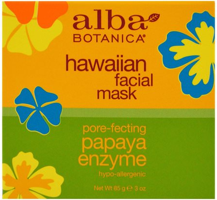 Hawaiian Facial Mask, Pore-Fecting Papaya Enzyme, 3 oz (85 g) by Alba Botanica, 美容,面部護理,皮膚,alba botanica夏威夷線 HK 香港
