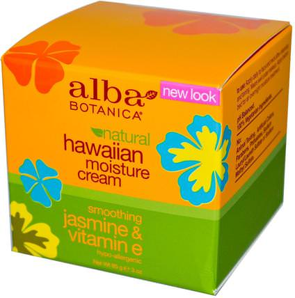 Hawaiian Moisture Cream, Jasmine & Vitamin E, 3 oz (85 g) by Alba Botanica, 美容,面部護理,面霜,乳液,健康,皮膚,晚霜 HK 香港