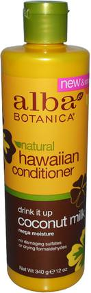 Natural Hawaiian Conditioner, Drink It up Coconut Milk, 12 oz (340 g) by Alba Botanica, 浴,美容,護髮素,alba botanica夏威夷線 HK 香港