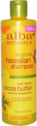 Natural Hawaiian Shampoo, Real Repair, Cocoa Butter, 12 fl oz (355 ml) by Alba Botanica, 洗澡,美容,洗髮水,alba botanica夏威夷線 HK 香港