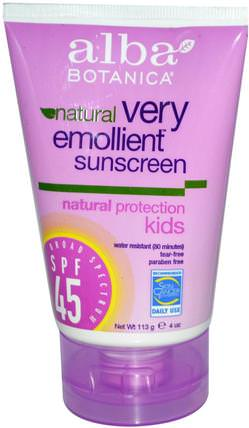 Natural Very Emollient, Sunscreen, Kids, SPF 45, 4 oz (113 g) by Alba Botanica, 洗澡,美容,防曬霜,spf 30-45,兒童和嬰兒防曬霜 HK 香港