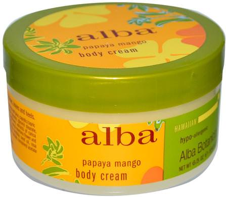 Body Cream, Papaya Mango, 6.5 oz (180 g) by Alba Botanica, 沐浴,美容,潤膚露,alba botanica夏威夷線 HK 香港