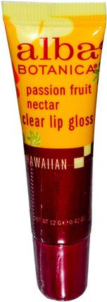 Clear Lip Gloss, Passion Fruit Nectar, 0.42 oz (12 g) by Alba Botanica, 沐浴,美容,口紅,光澤,襯墊,alba botanica夏威夷線 HK 香港
