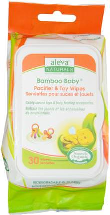 Bamboo Baby Wipes, Pacifier & Toy, 30 Wipes by Aleva Naturals, 嬰兒濕巾,救援 HK 香港
