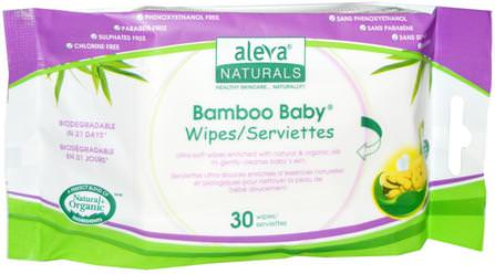 Bamboo Baby Wipes, 30 Wipes by Aleva Naturals, 兒童健康,尿布,嬰兒濕巾 HK 香港