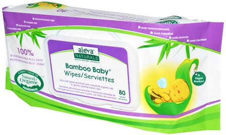 Bamboo Baby Wipes, 80 Wipes by Aleva Naturals, 兒童健康,尿布,嬰兒濕巾 HK 香港