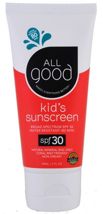 Kids Sunscreen, SPF 30, 3 fl oz (89 ml) by All Good Products, 洗澡,美容,防曬霜,spf 30-45,兒童和嬰兒防曬霜 HK 香港