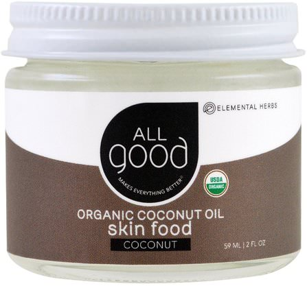 Organic Coconut Oil, Skin Food, Coconut, 2 fl oz (59 ml) by All Good Products, 食物,椰子油,浴,美容 HK 香港
