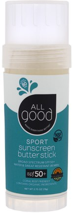 Sport Sunscreen Butter Stick, SPF 50+, 2.75 oz (78 g) by All Good Products, 浴,美容,防曬霜,spf 50-75 HK 香港
