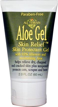 All Terrain, Aloe Gel Skin Relief Skin Protectant Gel, 2.0 fl oz (60 ml) 洗澡,美容,牛皮癬和濕疹,牛皮癬