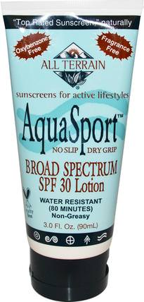 AquaSport, Broad Spectrum SPF 30 Lotion, 3.0 fl oz (90 ml) by All Terrain, 美容,面部護理,曬傷防曬,沐浴,防曬霜,spf 30-45 HK 香港