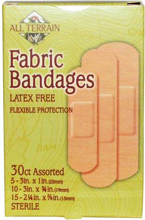 Fabric Bandages, Latex Free, Assorted, 30 Count by All Terrain, 健康,傷害燒傷 HK 香港