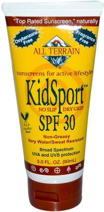 All Terrain, KidSport SPF 30, Fragrance Free, 3.0 fl oz (90 ml) 美容,面部護理,曬傷防曬,兒童健康,嬰兒及兒童產品